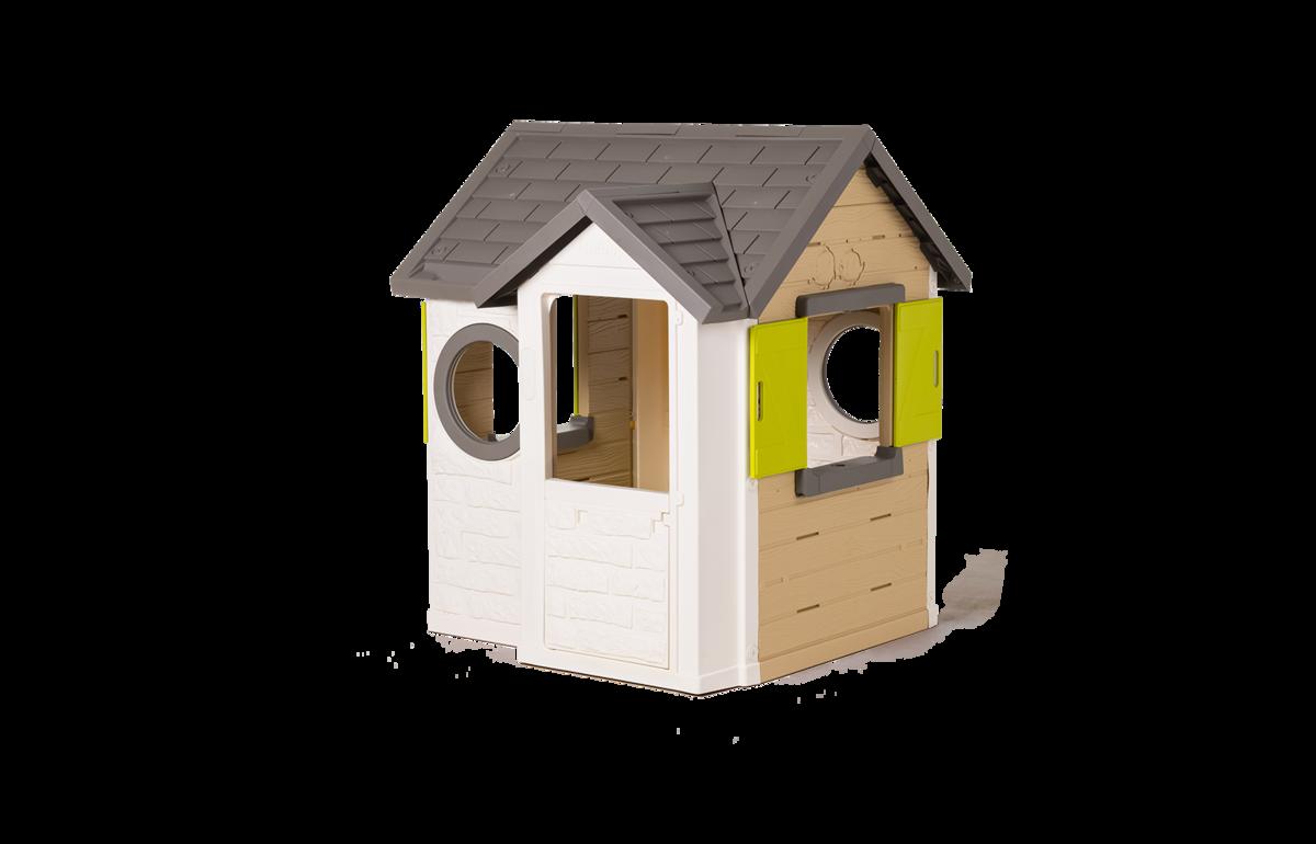 Domeček přírodní My New House Smoby rozšiřitelný 2 okna s okenicemi 2 kulatá okna a poloviční dveře 135 cm vysoký s UV filtrem od 2 let