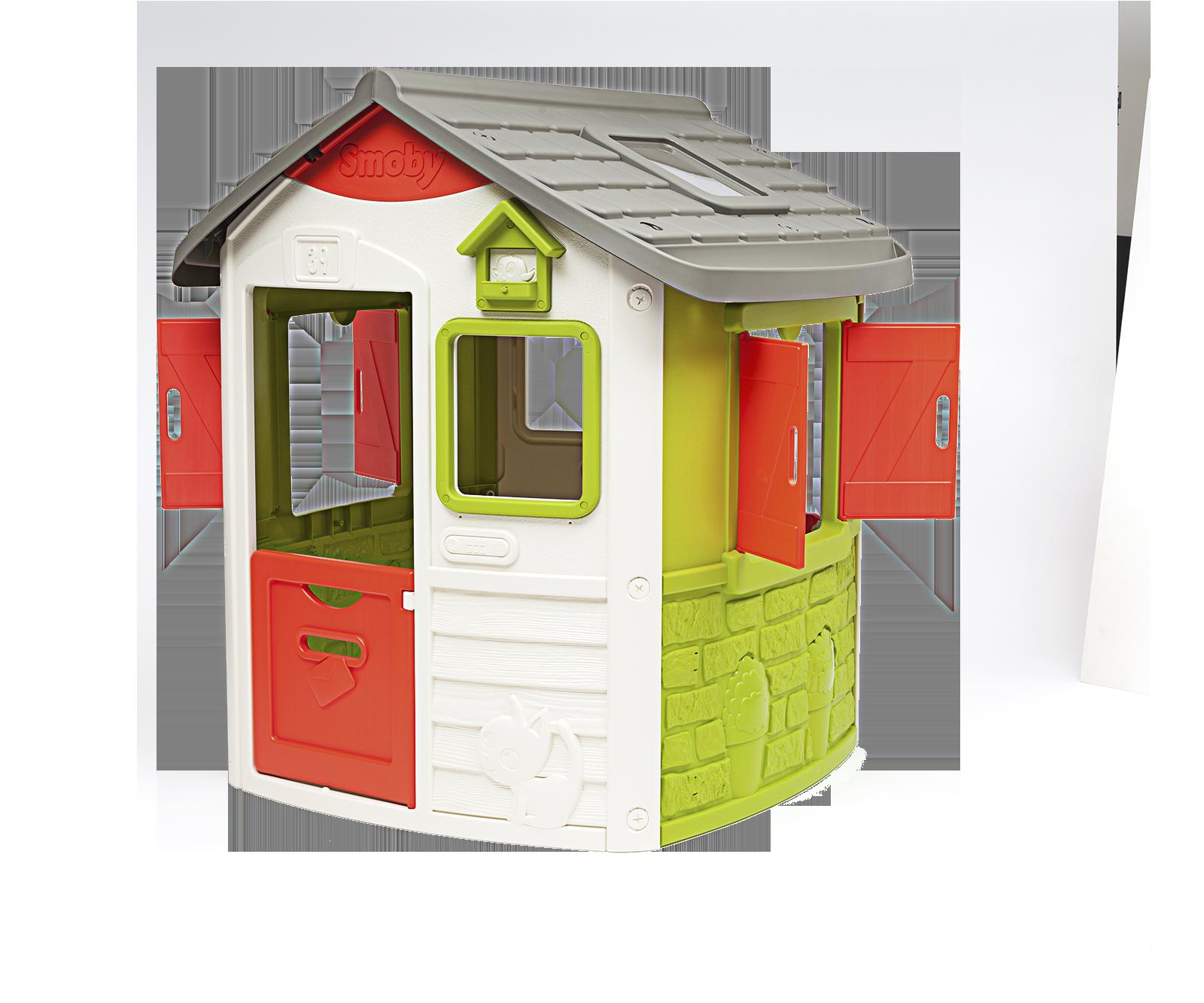 Domeček Neo Jura Lodge Smoby 2 dveře 2 okna s okenice a krmítko pro ptáky od 2 let